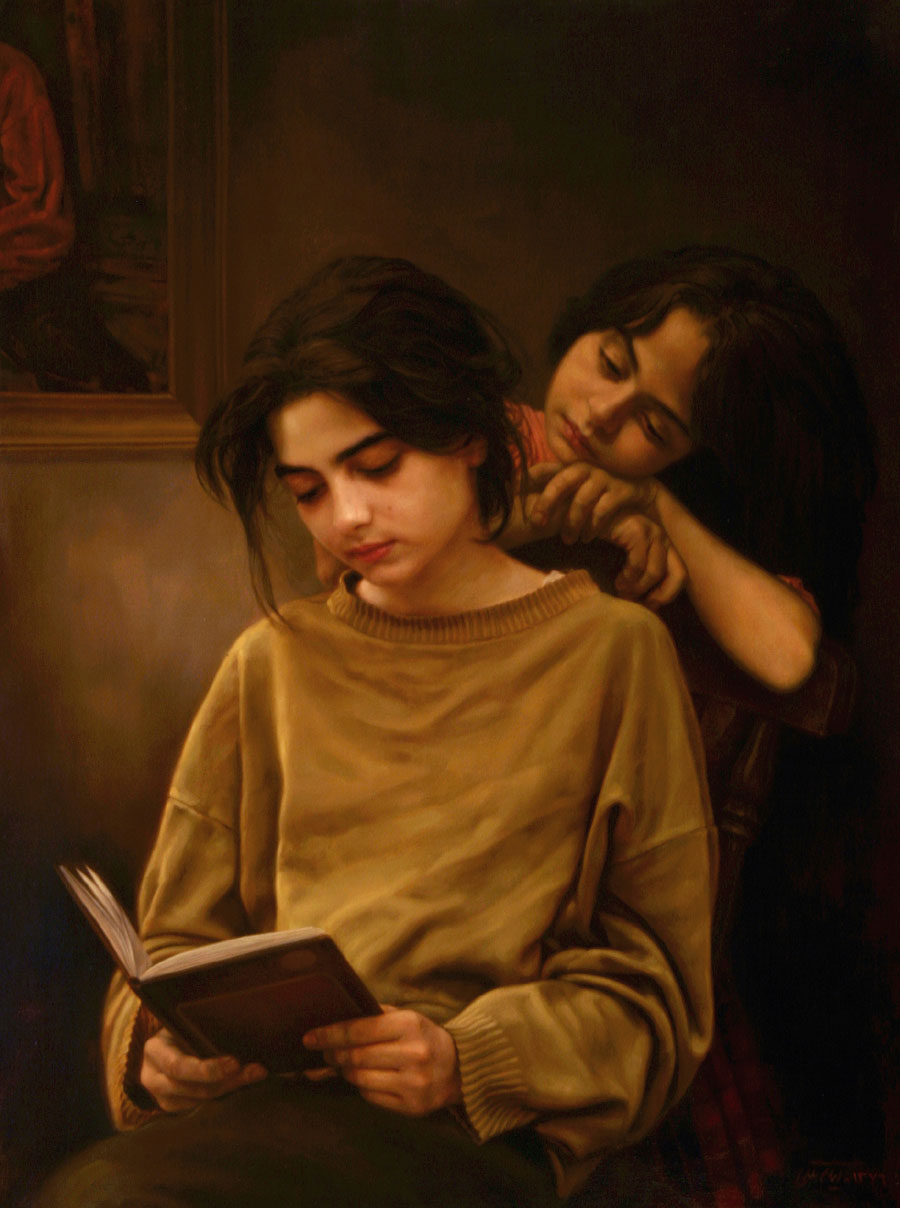 sisters-reading-book, painting-of-sisters