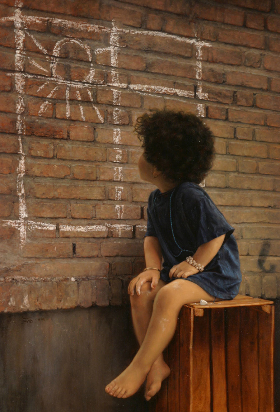 realistic paintings, painting of kid